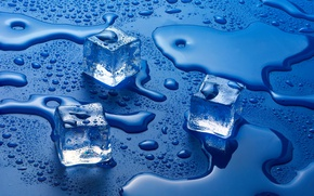 Обои water, liquid, Ice cubes, solid state