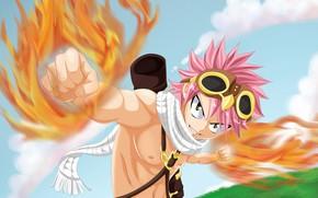 Картинка аниме, арт, Fairy Tail, Нацу, Хвост феи