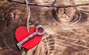 Картинка любовь, романтика, сердце, ключ, red, love, heart, wood, key, romantic