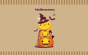 Картинка праздник, шляпа, тыквы, Хеллоуин