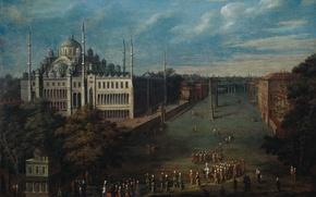 Картинка масло, картина, холст, Жан-Батист ван Мур, Великий Визирь Пересекает Площадь