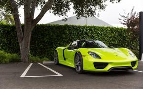 Картинка Porsche, Green, Spyder, 918, Parking