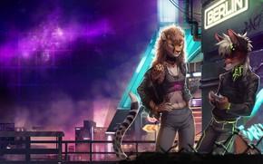 Обои Лис, Город, Звезды, Неон, Фон, Neon, Electronic, Гепард, Berlin, Synthpop, Cyberpunk, Darkwave, Synth, Retrowave, Furry, ...