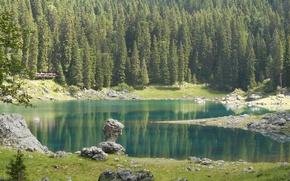 Картинка Природа, Озеро, Лес, Камни, Ель, Италия, Lake Carezza