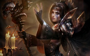 Картинка armor, magic, girl, fantasy art, digital art, candles, tattoo, illustration, skull, scepter, artwork, cape, Magician