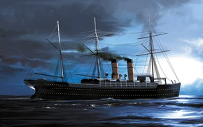 Картинка волны, корабль, Transatlantic Ships, etruria
