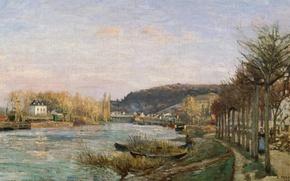 Картинка пейзаж, река, картина, Сена в Буживале, Камиль Писсарро