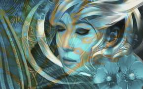 Картинка девушка, абстракция, японка, маки, мистика