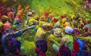 Картинка люди, Индия, порошок, фестиваль красок, Холи