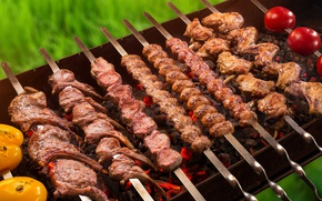 Обои мясо, овощи, шашлык, мангал