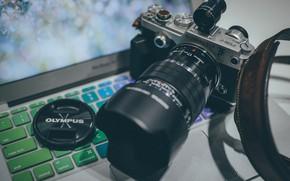 Картинка фотоаппарат, объектив, клавиатура, Olympus