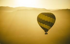Картинка солнце, воздушный шар, горизонт