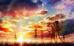 Картинка закат, аниме, арт, друзья, Hunter x Hunter, Гон, Киллуа