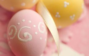 Картинка Пасха, лента, pink, spring, Easter, eggs, decoration, Happy