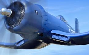 Обои club, F4U Corsair, крупный план, military, вооружение M2 пулеметы 12-7-мм, ракеты HVAR, двигатель 2450 л.с., ...
