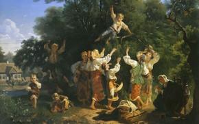Картинка дети, дом, девушки, масло, бабушка, Холст, 1858, Иван СОКОЛОВ, Сбор вишни в помещичьем саду