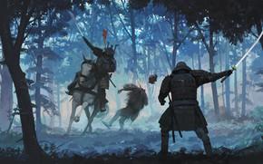 Картинка лес, брызги, убийство, всадник, samurai