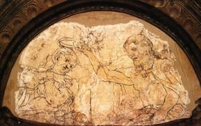 Картинка мария, иисус, Антонио Аллегри Корреджо, эпоха ренессанса, итальянская живопись, Sinopia of the Coronation