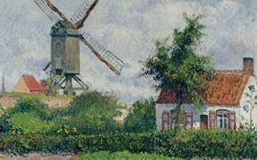 Обои пейзаж, Ветряная Мельница в Кнокке, дом, картина, Камиль Писсарро