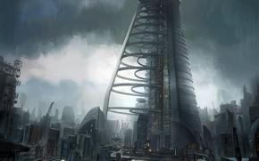 Картинка мост, город, башня, зданя, future glasgow