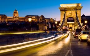 Картинка дорога, ночь, огни, движение, фонари, Венгрия, Будапешт