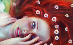 Обои глаза, взгляд, девушка, лицо, веснушки, рыжая, цветочки