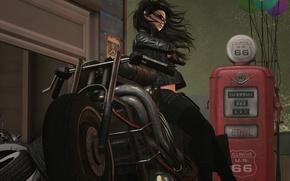 Картинка девушка, стиль, фон, мотоцикл, байк
