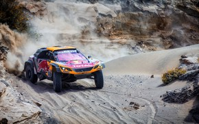Обои Песок, Авто, Спорт, Машина, Скорость, Гонка, Peugeot, Red Bull, 300, Rally, Dakar, Дакар, Внедорожник, Ралли, ...