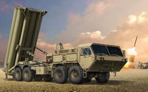 Обои THAAD, Подвижная пусковая установка, Terminal High Altitude Area Defense, Lockheed Martin Missiles and Space, противоракетный ...