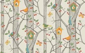 Картинка лес, вектор, арт, скворечник, птичка, детская