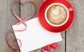 Картинка ленты, кофе, red, love, romantic, hearts, valentine`s day