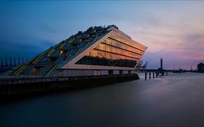 Картинка здание, кран, Германия, порт, Гамбург, гавань