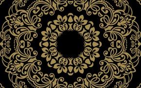 Обои фон, черный, золотой, орнамент, pattern, ornament, seamless