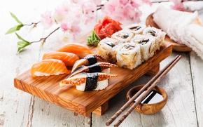 Обои суши, рыба, роллы, нори, рис, лосось