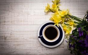 Картинка цветы, кофе, напиток, flowers, нарциссы, coffee