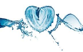 Картинка вода, капли, брызги, сердце, белый фон