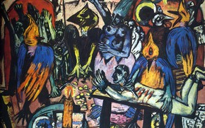 Картинка свеча, попугаи, 1938, пытки, Авангард, Экспрессионизм, Max Beckmann, Птичий ад
