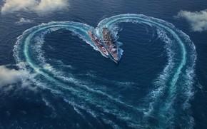 Картинка море, облака, сердце, корабли, День святого Валентина, вид сверху, World Of Warship