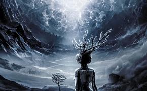 Картинка дерево, стихия, светило, существо, centroid of the mechanism