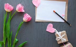 Картинка цветы, сердечки, тюльпаны, розовые, wood, pink, flowers, romantic, hearts, tulips, spring