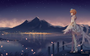 Картинка ночь, Сакура, девочка, Card Captor Sakura