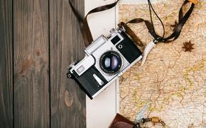 Картинка Карта, Фотоаппарат, Путешествие, Подготовка