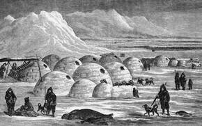 Картинка зима, собаки, эскимосы, Иглу, ледяные горы, чукотка, куполообразная хижина