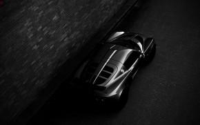 Картинка ночь, Lotus, спорткар, Exige, Lotus Exige, чёрно - белое фото