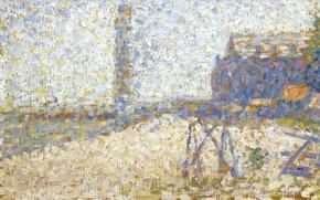Картинка картина, пуантилизм, Жорж Сёра, Georges Seurat, Хоспис и Маяк Онфлёра
