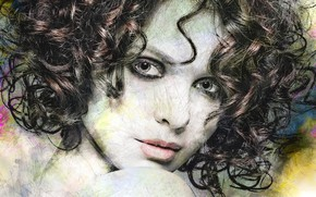 Картинка взгляд, девушка, лицо, арт, кудри