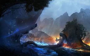 Картинка деревья, горы, река, фантазия, дождь, бабочка, робот, зонт, art