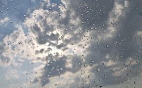 Обои капли, облака, небо, текстура, вода, дождь, фон, стекло, макро