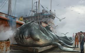 Картинка люди, чайки, чудовище, судно, Hauled up Sea Beasts, shipped off bacup
