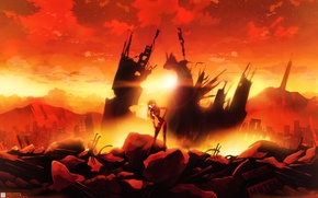Обои закат, облака, небо, солнце, девушка, руины, город, аниме, дома, soryu asuka langley, евангелион, neon genesis ...